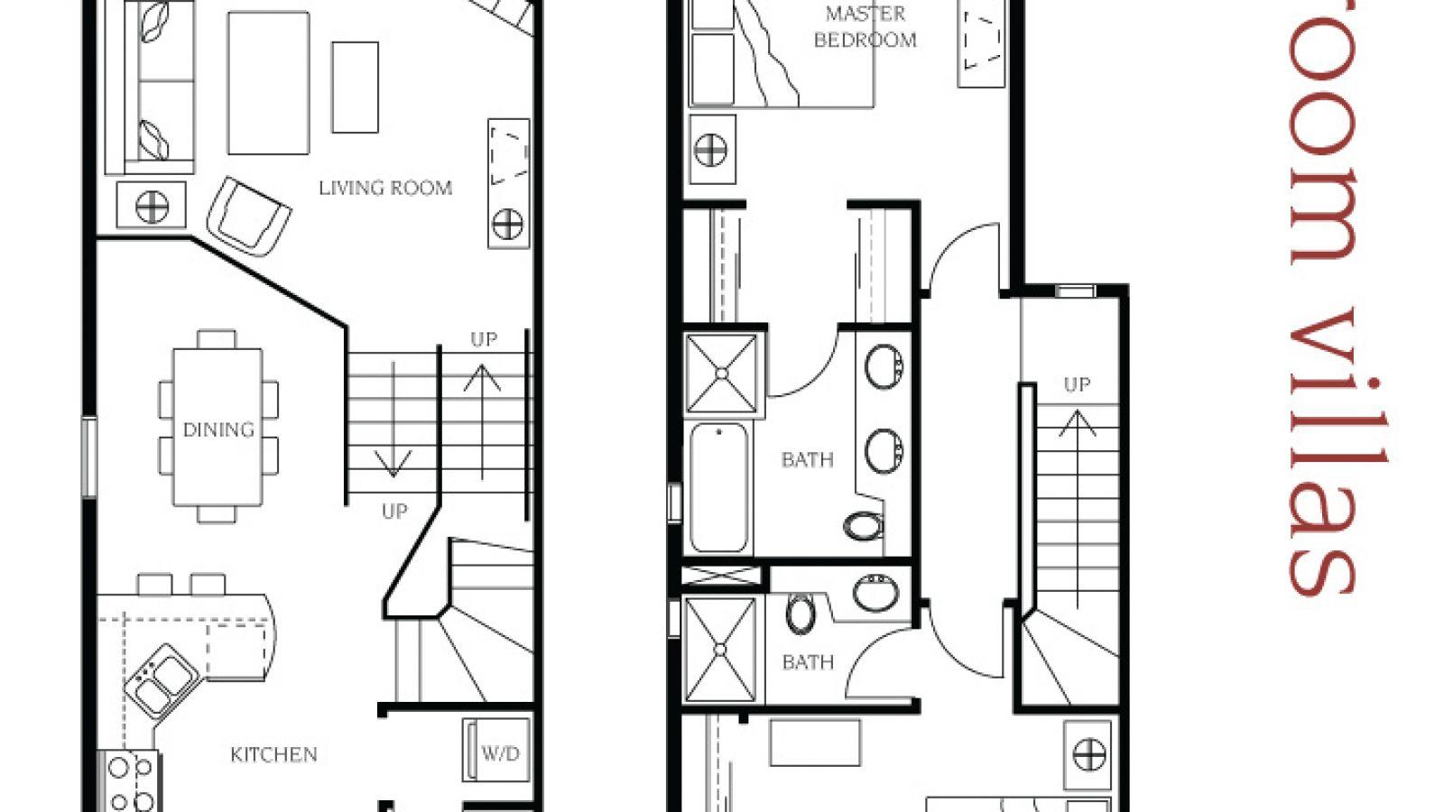 2 bedroom villa floor plan at Manteo