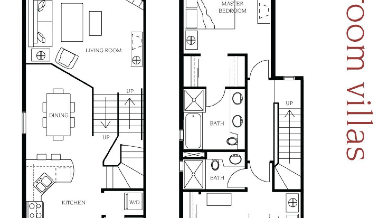 2 bedroom villa floor plan at Manteo