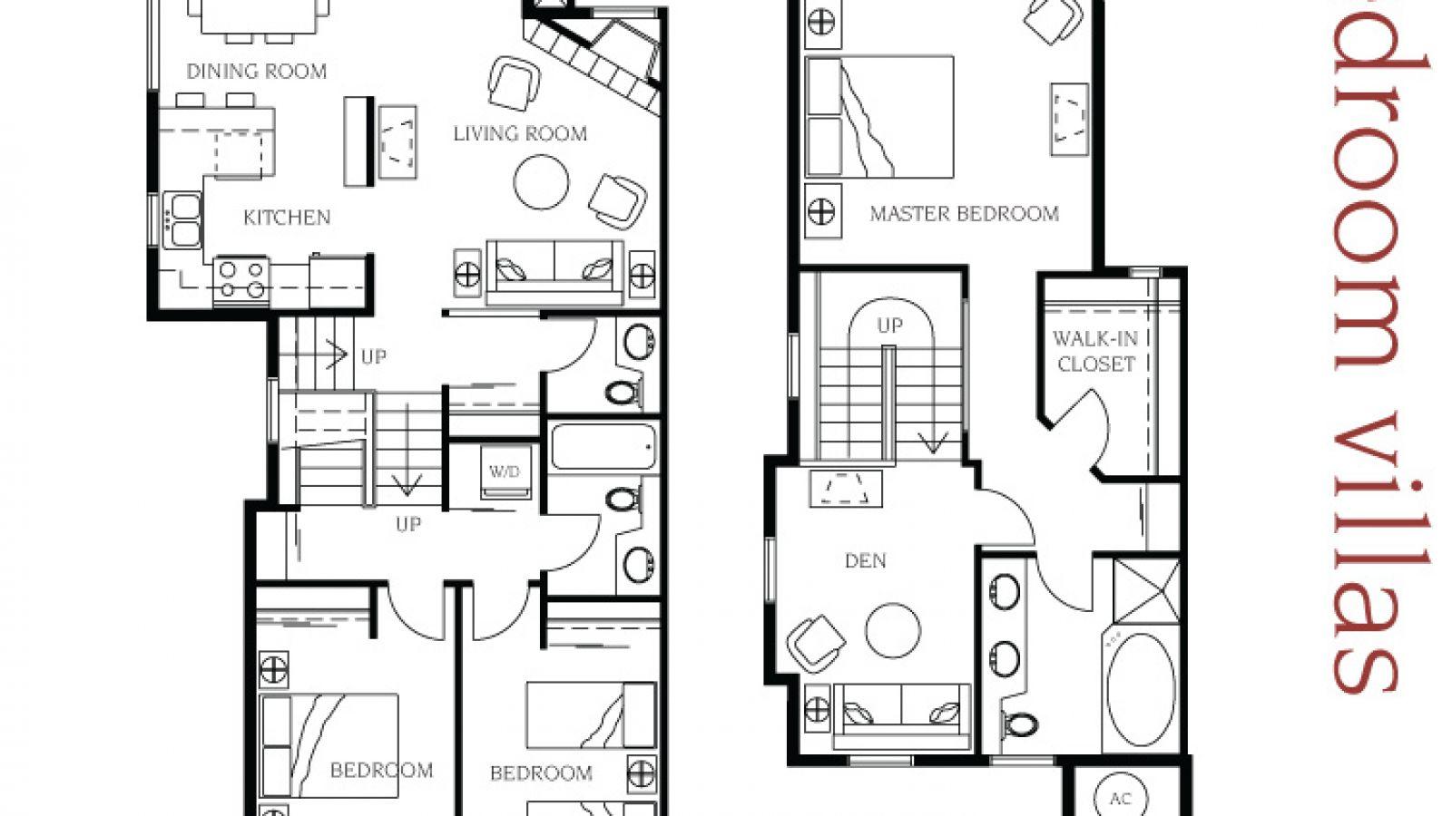 3 bedroom villa floor plan at Manteo