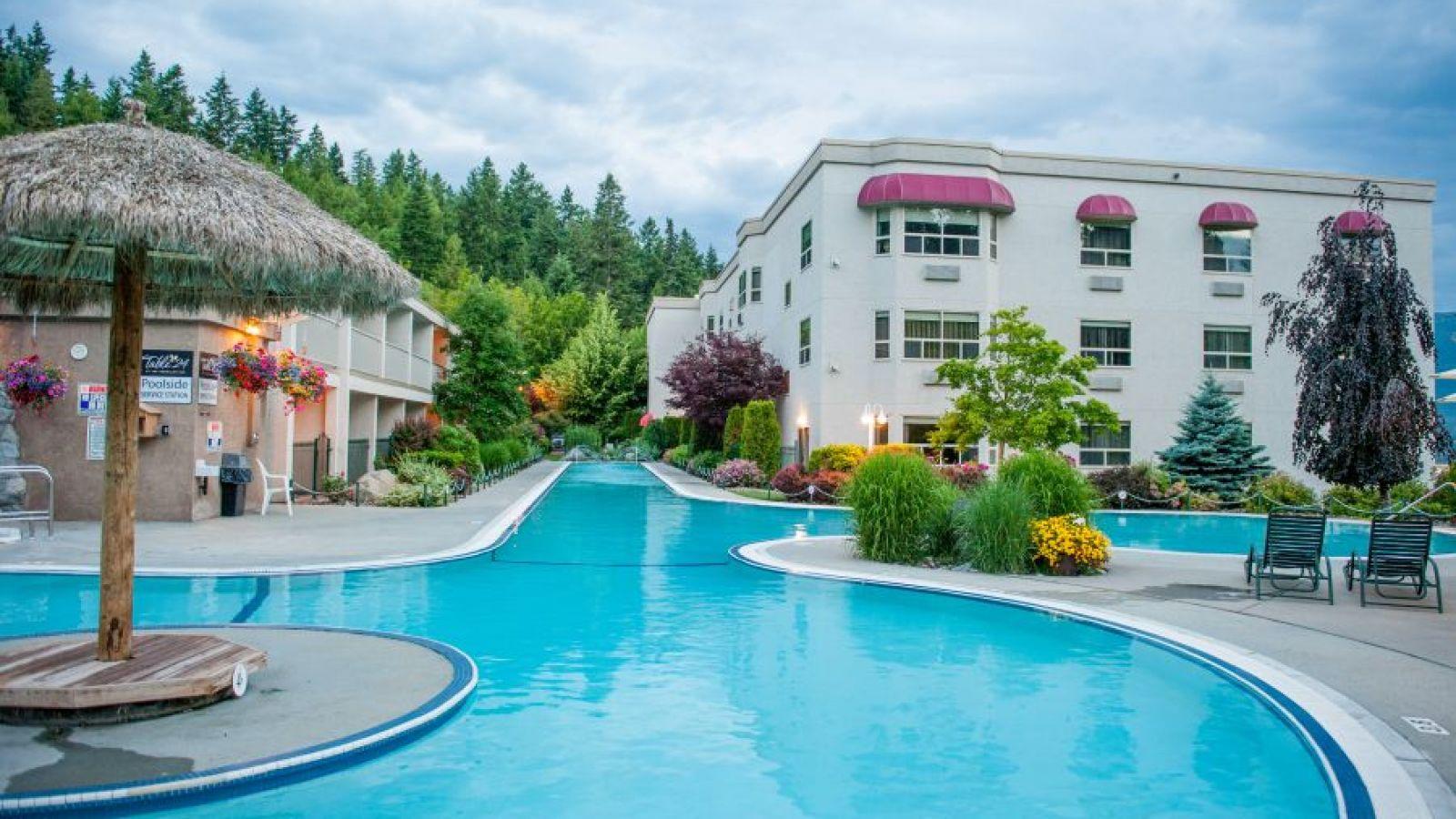 Pool area at the Hilltop Inn Salmon Arm